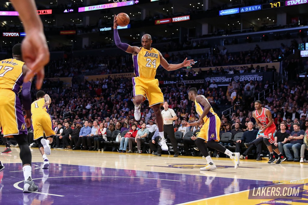 The Los Angeles Lakers play the Chicago Bulls on January 28, 2016 at STAPLES Center in Los Angeles, California.